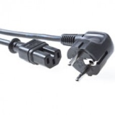 230V aansluitkabel  schuko male (haaks) - C15 zwart
